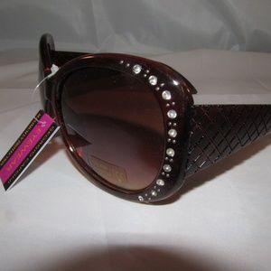 Sunglasses Ladies Rhinestone Brown Wide Template